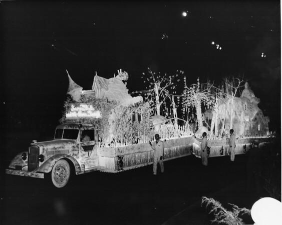 Shriner's parade, Snow White's float at night