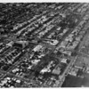 Aerial view over Beverly Hills at Wilshire Boulevard and Robertson Boulevard