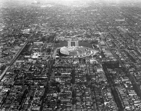 Aerial view looking east towards the Coliseum