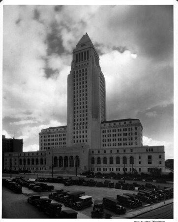 In the Civic Center of Downtown Los Angeles, looking northward at City Hall