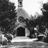 Stone chapel entrance at Forest Lawn Memorial Park