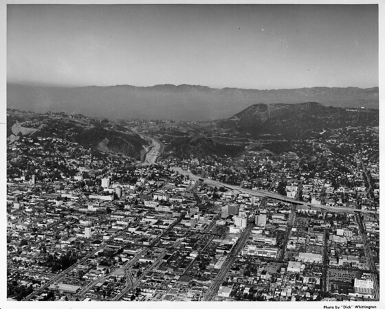 Aerial view, Hollywood, Cahuenga Pass and Hollywood Freeway (US-101)