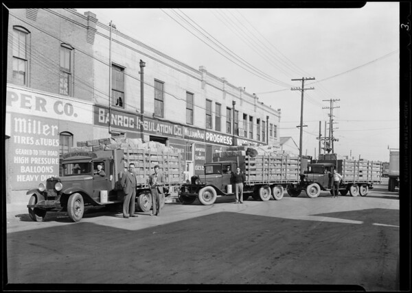 Chevrolet trucks belonging to U.S. Paper Co., Southern California, 1930