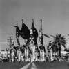 American Legion parade, Long Beach, flag bearers, drum major