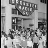 Opening night exterior and interior, Bronster Radio Co., Southern California, 1930