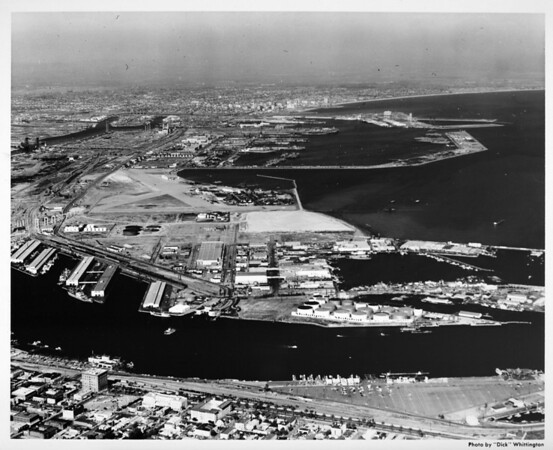 Aerial view facing east over Main Channel to Los Angeles Harbor