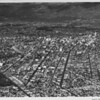 Aerial view of Downtown Los Angeles, Dodger Stadium, metropolitan area