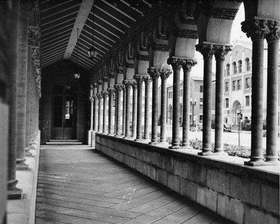 View of arched walkway for the to Mudd Hall on the University of Southern California (USC) campus