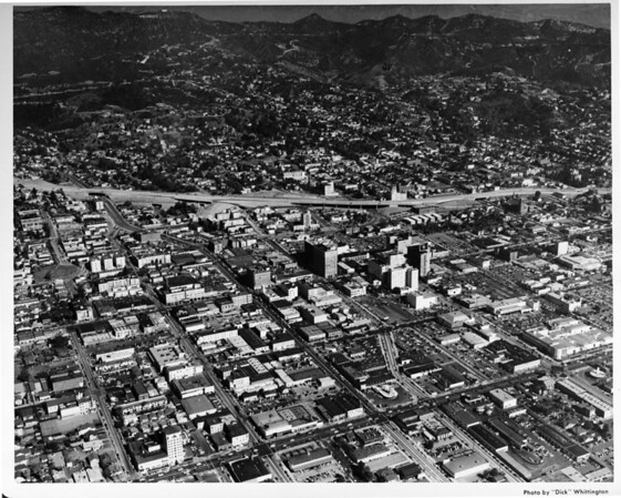 Aerial view, Hollywood, Hollywood Freeway (US-101), Hollywood Boulevard, Sunset Boulevard, facing north