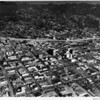 Aerial view, Hollywood, Hollywood Freeway (US-101), Hollywood Boulevard, Sunset Boulevard, facing north