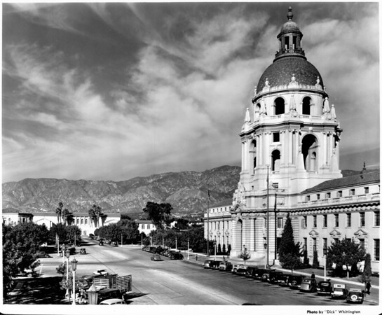 A view of the Pasadena City Hall with its Civic Center surrounded by mountains