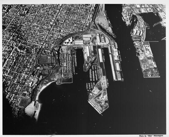 Aerial view of Los Angeles Harbor facing north, Terminal Island, San Pedro
