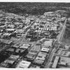 Aerial view facing north in West Los Angeles at Wilshire Boulevard and Federal Avenue