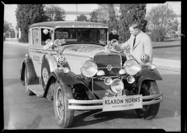 Car with accessories, Southern California, 1932