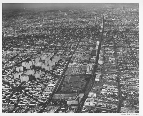 Aerial view, Park La Brea, Los Angeles, May Company, looking east