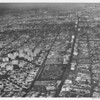 Aerial view, Park La Brea, Los Angeles, May Company, looking east