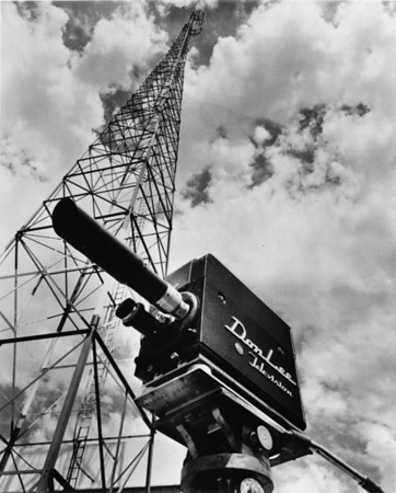 Don Lee Television camera and large electric tower