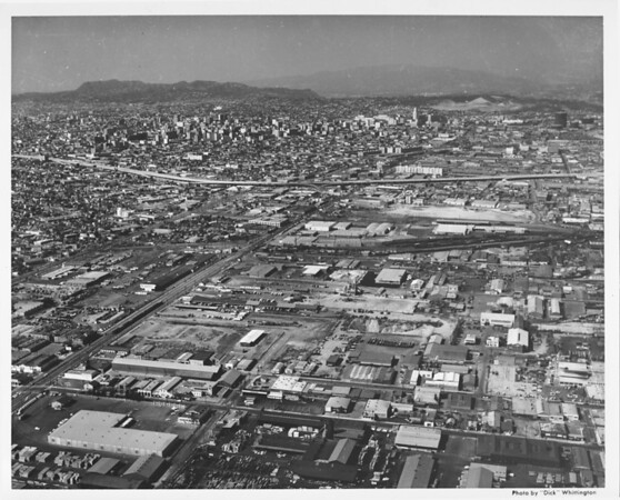 Aerial view of Los Angeles looking north on Alameda Boulevard from Vernon Avenue, Santa Monica Freeway (I-10)