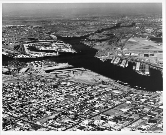 Aerial view facing northeast over Main Channel to Los Angeles Harbor