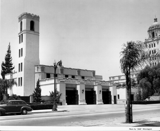 A view of the Beverly Hills Fire Station with the City Hall in the background