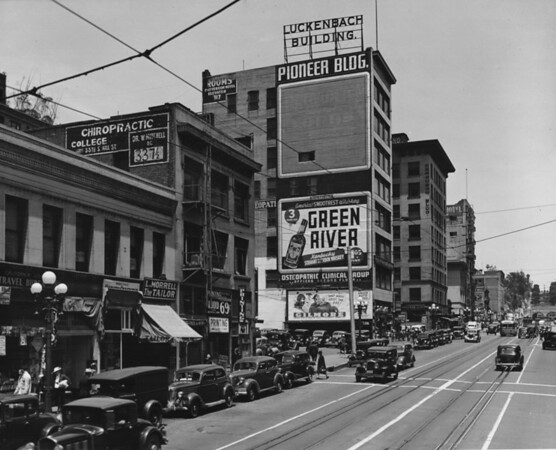 In Downtown Los Angeles facing north on South Hill Street between West Third Street and West Fourth Street