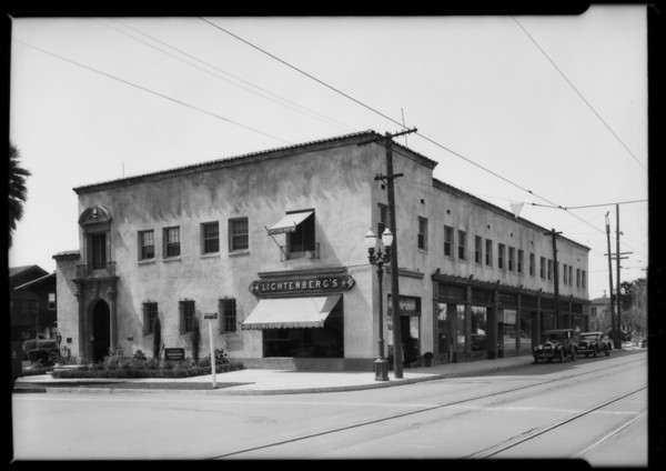 Exterior & interior of southwest corner, West 6th Street and South St. Andrews Place, Los Angeles, CA, 1926