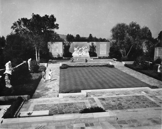 A high-angle shot of a courtyard in the Forest Lawn Memorial Park