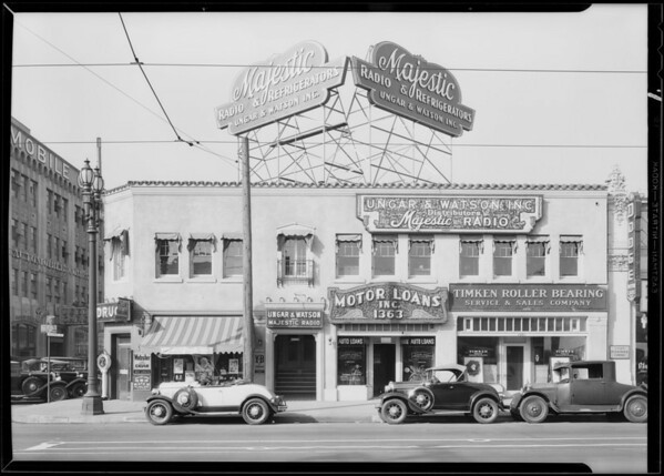 Signs on their building, 1363 Figueroa Street, Ungar and Watson, Los Angeles, CA, 1930