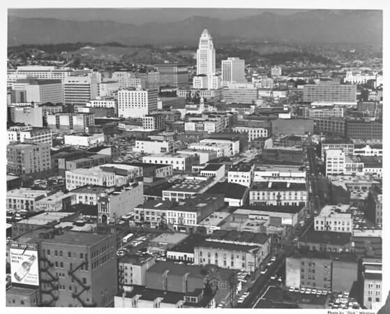 Aerial view of downtown Los Angeles looking north toward City Hall, Hotel Clarence