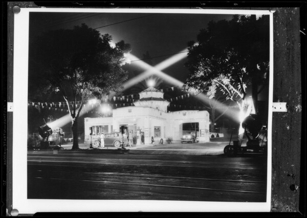 Night views of new station after retouching, Southern California, 1932
