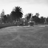 A long shot of two fountains in the Inglewood Park Cemetery