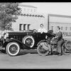 New roadster & cycletow, Southern California, 1932