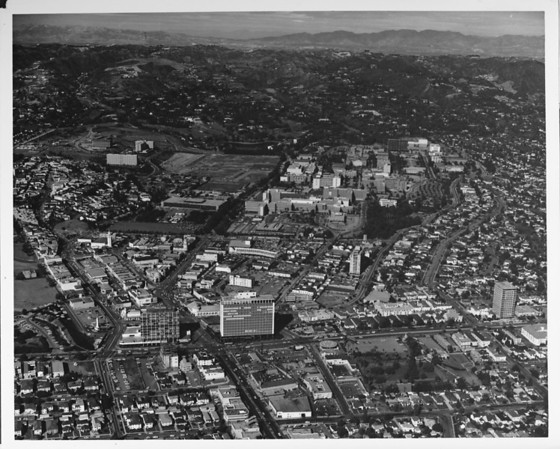 Aerial view of the campus of the University of California, Los Angeles (UCLA) in Westwood