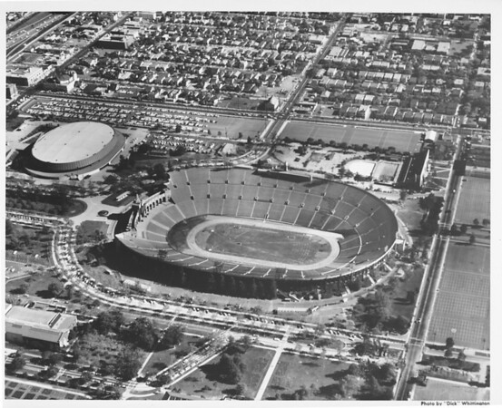 Aerial view of Exposition Park, Coliseum, Sports Arena