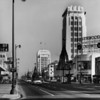 Wilshire Boulevard facing east at Ridgeley Drive during the holiday season at 2:23pm (see the Columbia clock at Wilshire Boulevard and Dunsmuir Avenue)