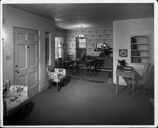 Home interior of 1948, furnished by Bullock's, dining room