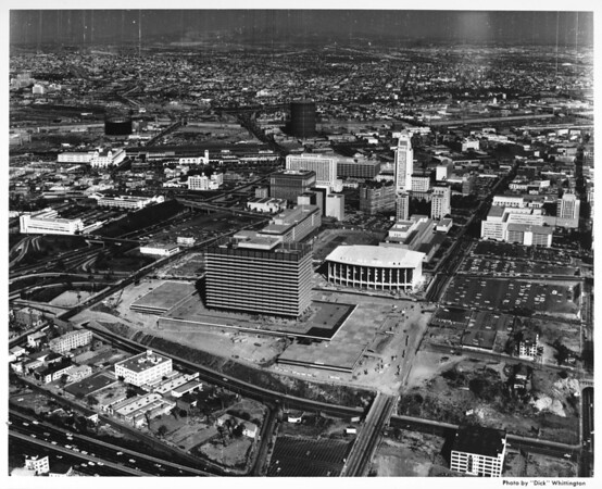 Aerial view of Civic Center, Music Center looking east from Figueroa Street
