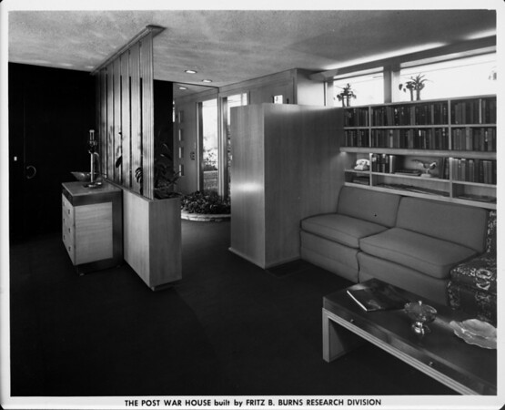 The Post War House built by Fritz B. Burns, home interior of 1948, den area, entrance area