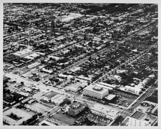 Aerial view facing north over Santa Monica at Wilshire Boulevard and Yale Street