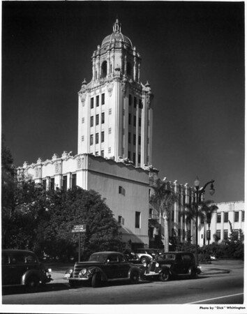 A side angle view of the Beverly Hills City Hall