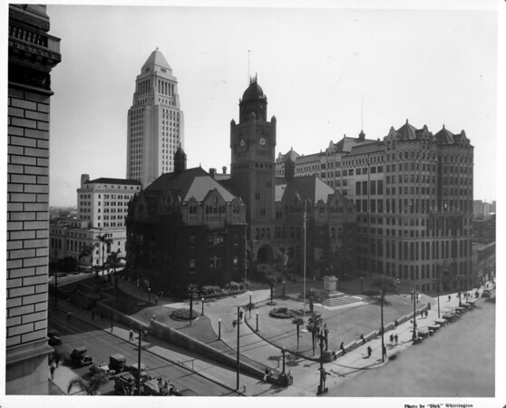 City Hall In the Civic Center of Downtown Los Angeles at Temple and Broadway, the old Courthouse, Hall of Records with City Hall in the background