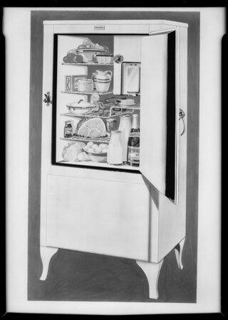 Copy of colored sketch of refrigerator, Southern California, 1931