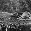 Worshipers attending Easter Service at the Hollywood Bowl
