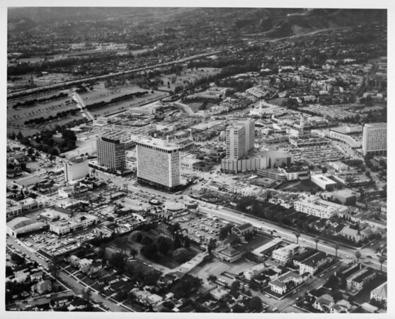 Aerial view facing north over Westwood at Wilshire Boulevard and Westwood Boulevard