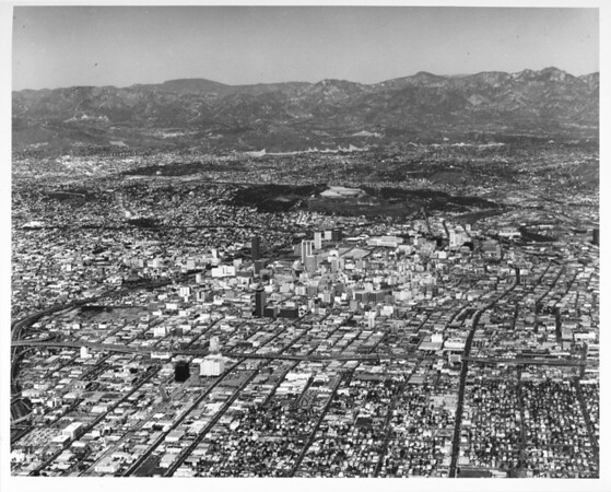 Aerial view of downtown Los Angeles looking north from the Santa Monica Freeway