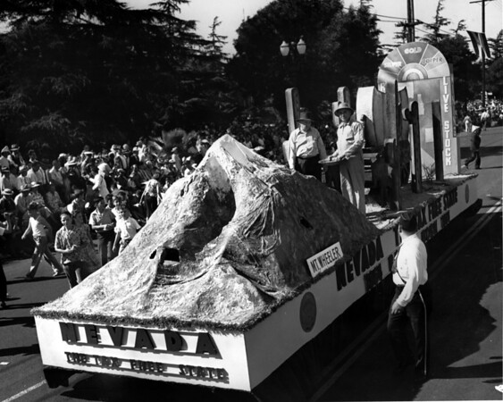"""American Legion parade, float from the State of Nevada, the """"Tax Free State"""", featuring Nevada's ranching and mining industries"""