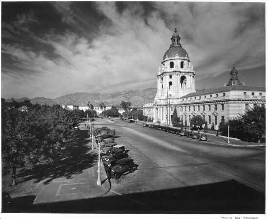 A high-angle view of the Pasadena City Hall from its corner