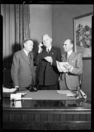 Mayor Porter & Mr. Beck at Mayor Porter's office, Southern California, 1932