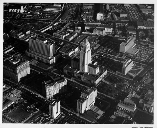 Aerial view of Downtown Los Angeles facing east overlooking City Hall, Hall of Justice, Old Criminal Courts Building