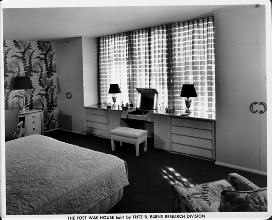Post War House, built by Fritz B. Burns Research Division showing the kitchen/desk area, 1948